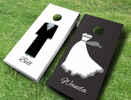 Bride and Groom Cornhole Set by AJJ Cornhole