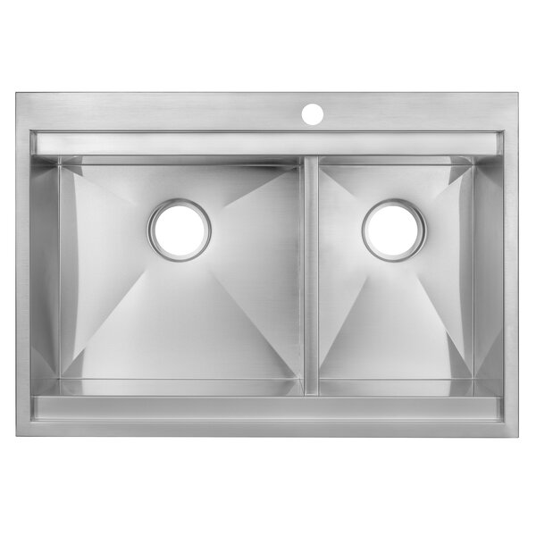 32 L x 22 W Double Basin Drop-In Kitchen Sink by AKDY