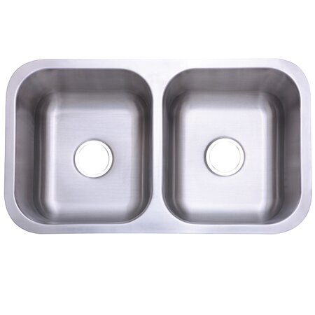 Marina Gourmetier 32.31 L x 18.5 W Stainless Steel Double Bowl Undermount Kitchen Sink by Kingston Brass