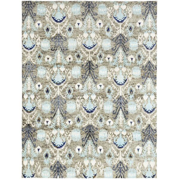 One-of-a-Kind Loyalton Hand-Knotted Wool Blue Indoor Area Rug by Bungalow Rose