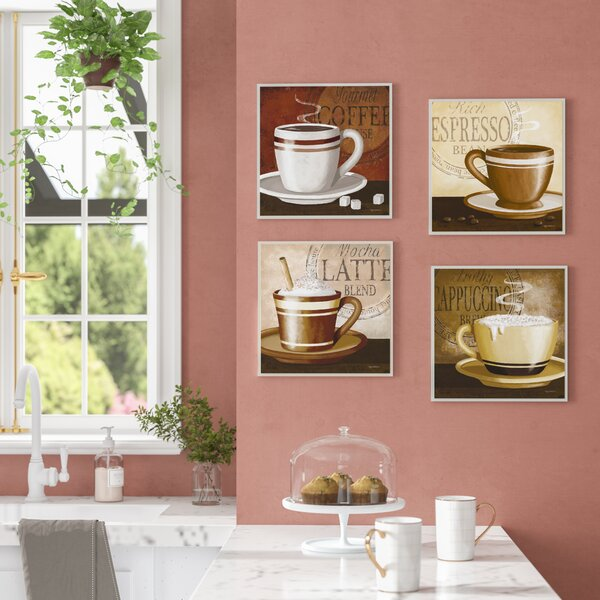 Espresso, Coffee, Latte, Cappuccino 4 Piece Graphic Art Wall Plaque Set by Andover Mills