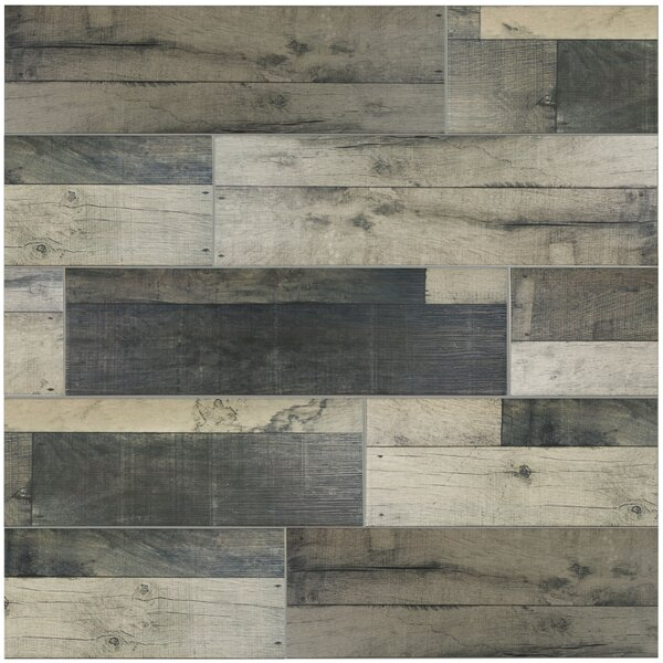 Lena 7.88 x 23.63 Ceramic Wood Tile in Gris by EliteTile