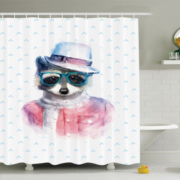 Kids Retro Hipster Raccoon Shower Curtain Set by Ambesonne