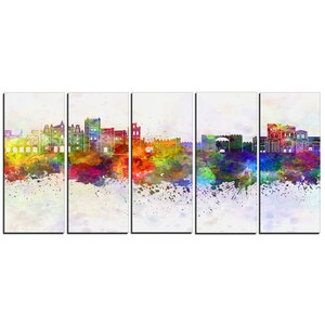 Avila Skyline Cityscape 5 Piece Painting Print on Wrapped Canvas Set by Design Art