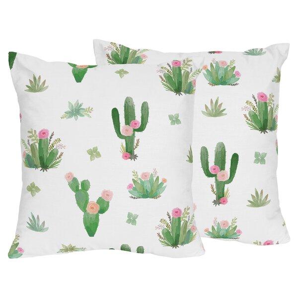 Cactus Floral Indoor Throw Pillow (Set of 2) by Sweet Jojo Designs