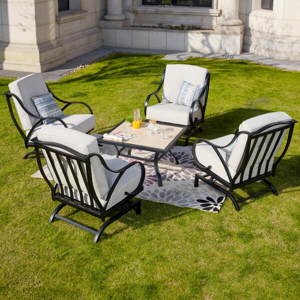 Pehrson 5 Piece Multiple Chairs Seating Group with Cushions by Alcott Hill