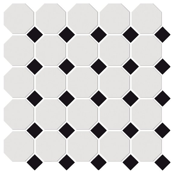 Shape Random Sized Porcelain Mosaic Tile in White/Black by Emser Tile