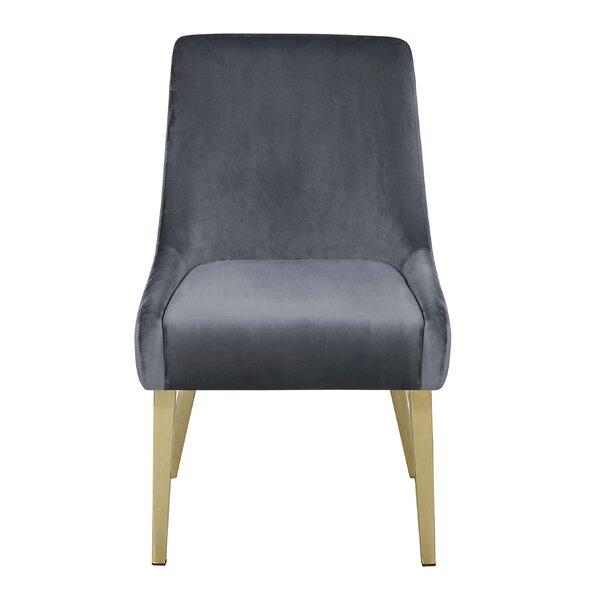 Irby Velvet Upholstered Side Chair in Gray (Set of 2) by Everly Quinn Everly Quinn