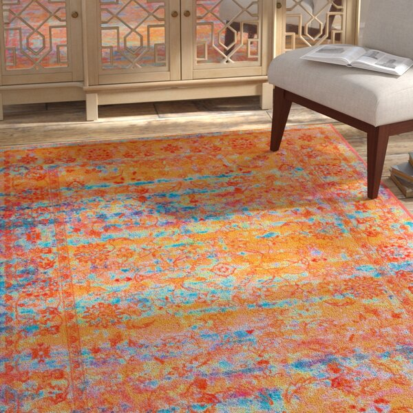 Durkee Yellow/Blue Area Rug by Bloomsbury Market