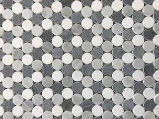 Penny Rounds 1 x 1 Marble Mosaic Tile in White/Gray by La Maison en Pierre