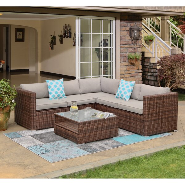 Newagen 4-Piece Outdoor Furniture Set Mottlewood Brown Wicker Sofa W Warm Gray Cushions Glass Coffee Table 2 Teal Pillows Incl. Waterproof Cover by Wrought Studio