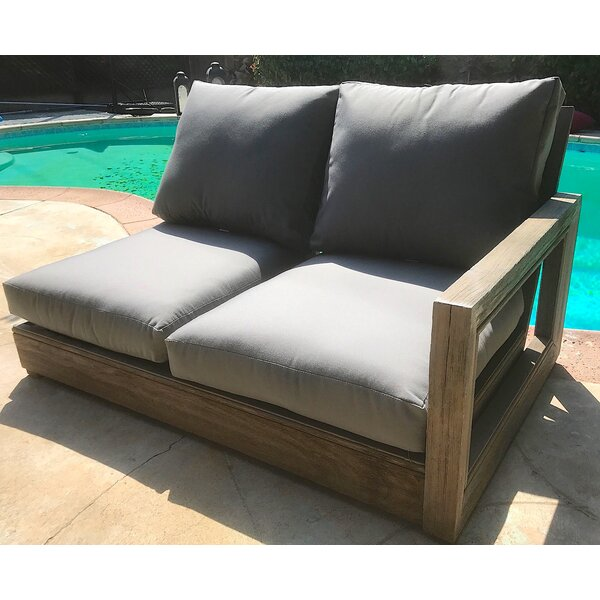 Yandell Teak Patio Loveseat with Sunbrella Cushion by Brayden Studio