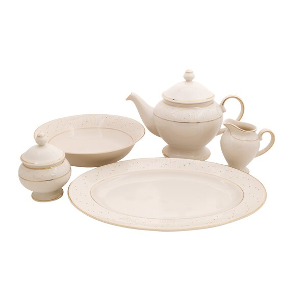 Palace Ivory China Traditional Serving 5 Piece Dinnerware Set by Shinepukur Ceramics USA, Inc.