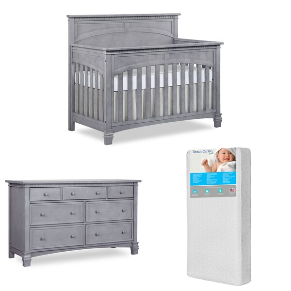 Evolur Santa Fe 5-in-1 Convertible 2 Piece Crib Set with Mattress by Evolur