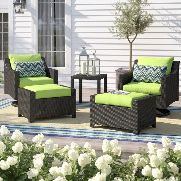 Northridge 5 Piece Rattan Deep Seating Club Chair Conversation Set with Sunbrella Cushions by Three Posts