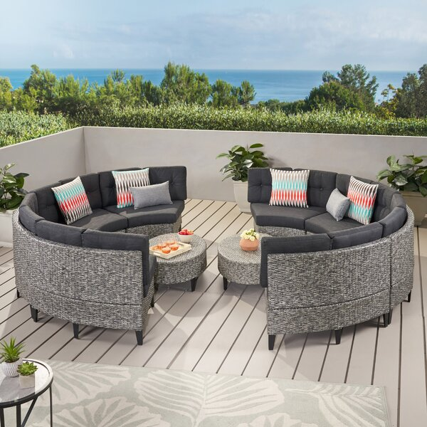 Yulganna 9 Piece Rattan Sectional Seating Group with Cushions by Brayden Studio