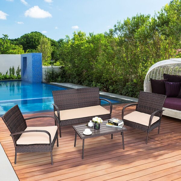 Bottone 4 Piece Rattan Sofa Seating Group with Cushions by Latitude Run