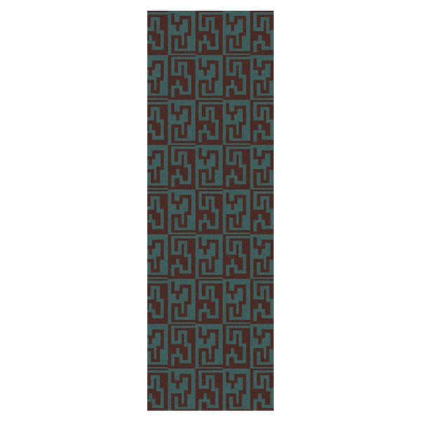 Donley Brown/Malachite Blue Geometric Area Rug by Wrought Studio