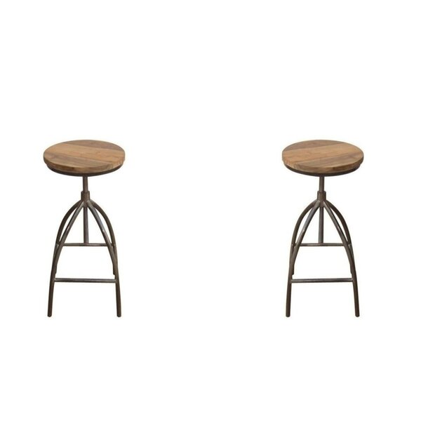 Abrahams Swivel Solid Wood Adjustable Height Short Stool (Set of 2) by Foundry Select Foundry Select