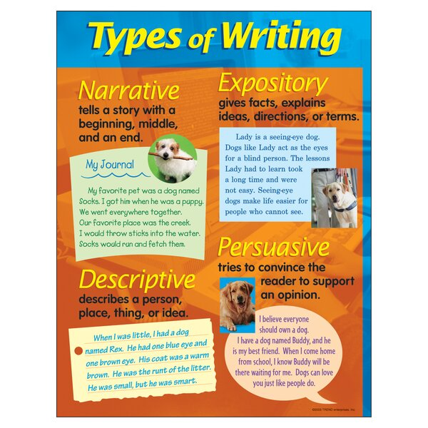 Types of Writing Chart by Trend Enterprises