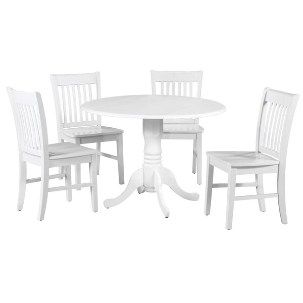Brompton 5 Piece Drop Leaf Solid Wood Dining Set by Alcott Hill Alcott Hill