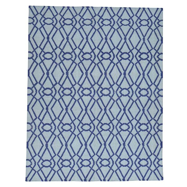 Flat Weave Reversible Durie Kilim Hand-Knotted Blue Area Rug by House of Hampton