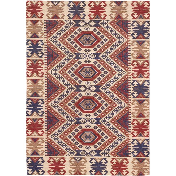 Bastian Hand-Tufted Blue/Red Area Rug by ECARPETGALLERY