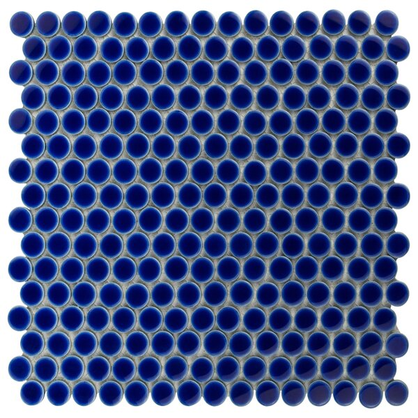 Penny 0.8 x 0.8 Porcelain Mosaic Tile in Cobalt by