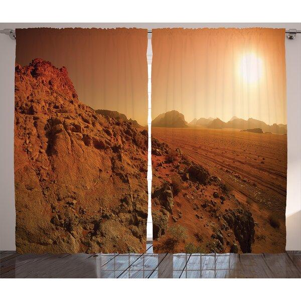 Bouffard Galaxy Graphic Print and Text Semi-Sheer Rod Pocket Curtain Panels (Set of 2) by Latitude Run