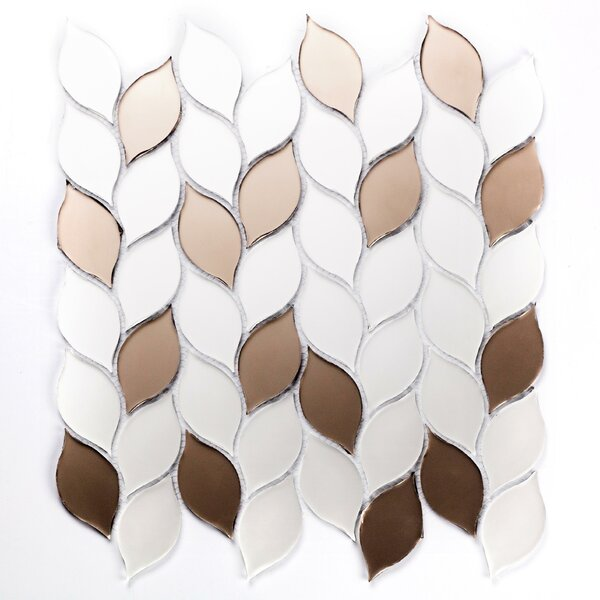 Musico Leaf Waterjet Glass Mosaic Tile in Bronze by Abolos