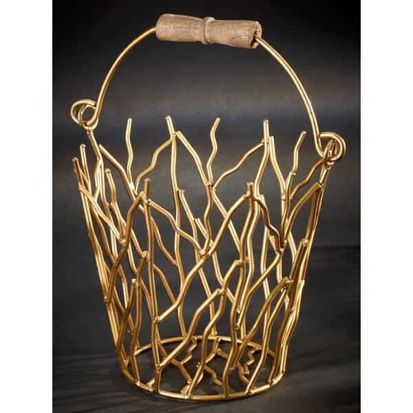 Gilded Iron Branches Bucket with Wood Handle by Kindwer