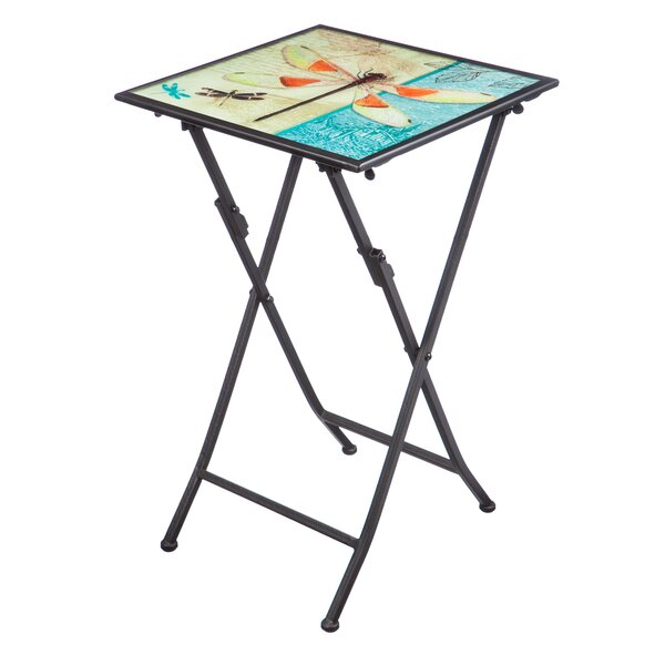 Barnwell Iridescent Dragonfly Folding Steel Bistro Table by Winston Porter