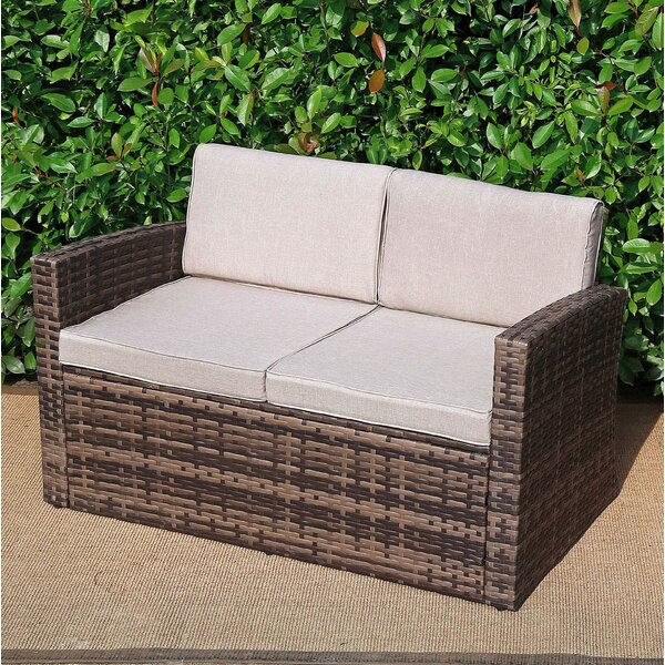 Zayd Patio Loveseat with Cushions by Highland Dunes