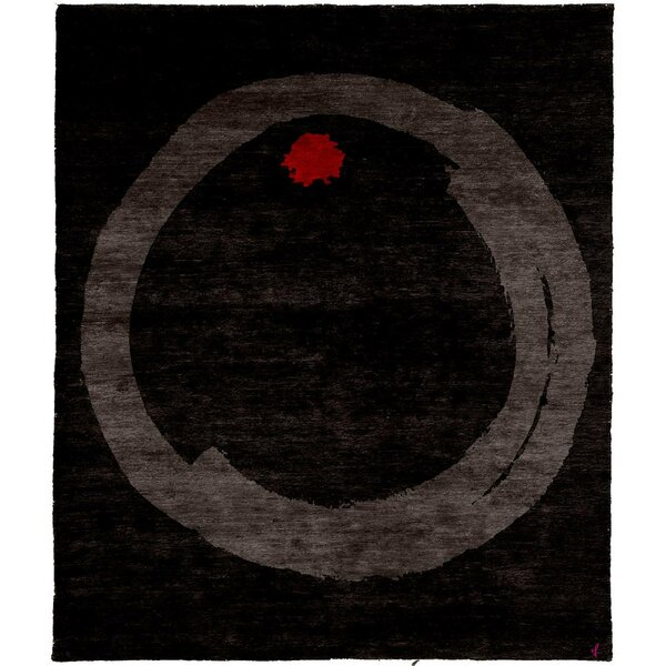 One-of-a-Kind Orrin Hand-Knotted Tibetan black 8' Square Wool Area Rug