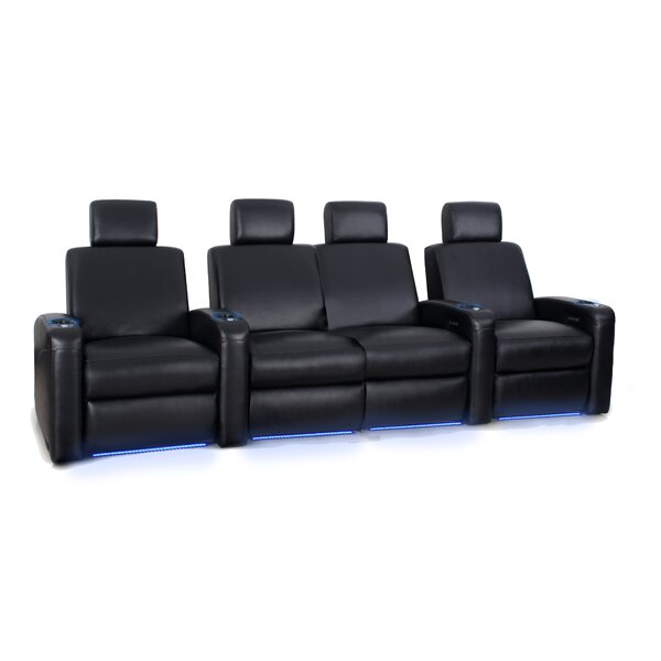 Leather Home Theater Configurable Seating (Row Of 3) By Latitude Run