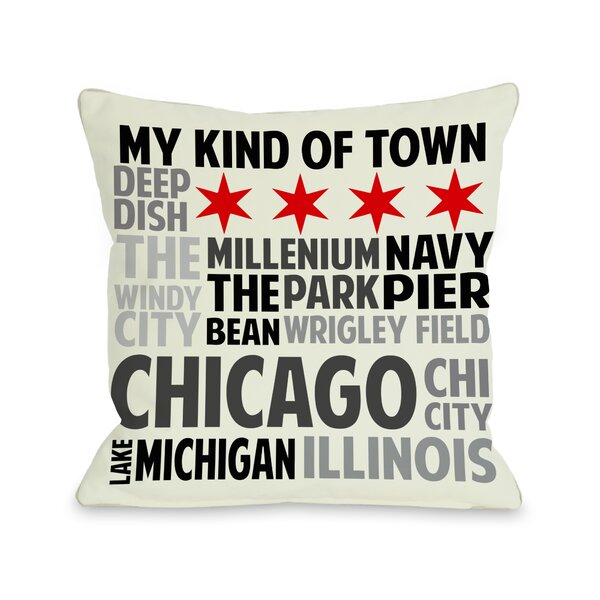 Chicago Illinois Subway Style Words Throw Pillow by One Bella Casa
