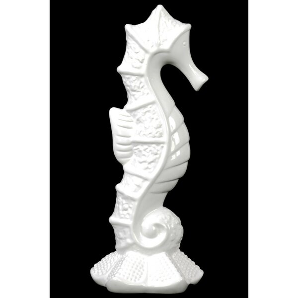 Ridgewood Seahorse Ceramic Figurine on Sea Star Base by Rosecliff Heights