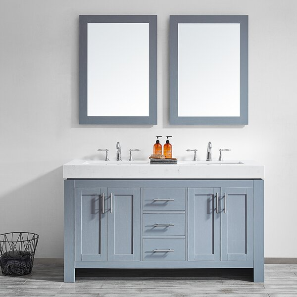 Neva 60 Double Bathroom Vanity Set with Mirror by Wrought Studio