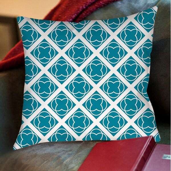 Modern Geometric Topaz Printed Throw Pillow by Manual Woodworkers & Weavers