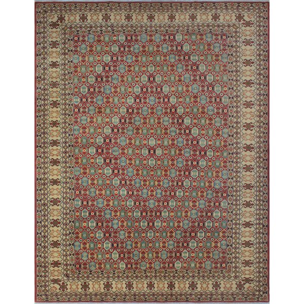 Bruford Kazak Hand Knotted Wool Red Area Rug by Bloomsbury Market