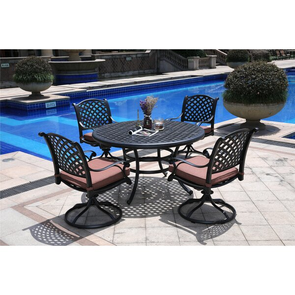 Sclafani Aluminum 5 Piece Dining Set with Cushions by Canora Grey