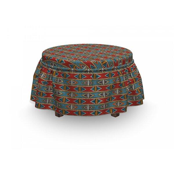 Review African Rhombus Tribal 2 Piece Box Cushion Ottoman Slipcover Set