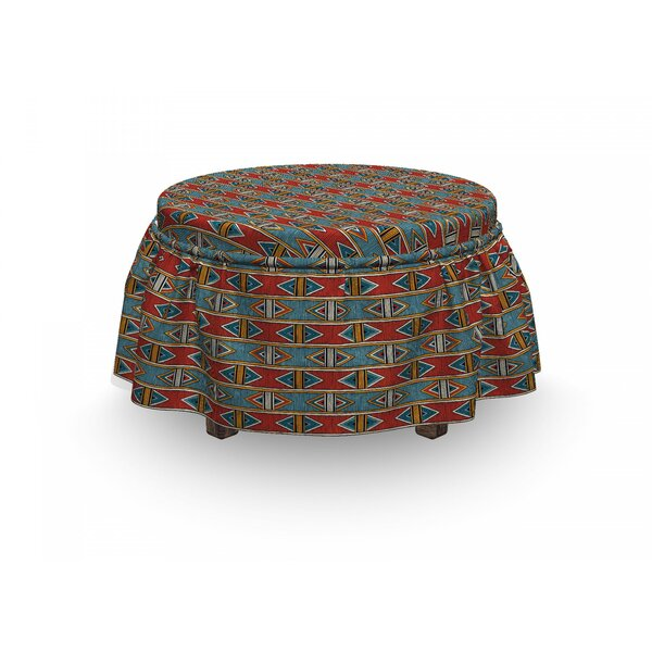 Discount African Rhombus Tribal 2 Piece Box Cushion Ottoman Slipcover Set