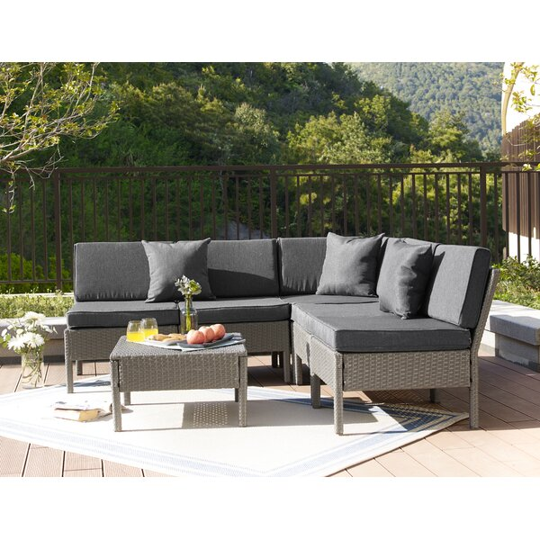 Farr 6 Piece Rattan Sectional Set with Cushions by