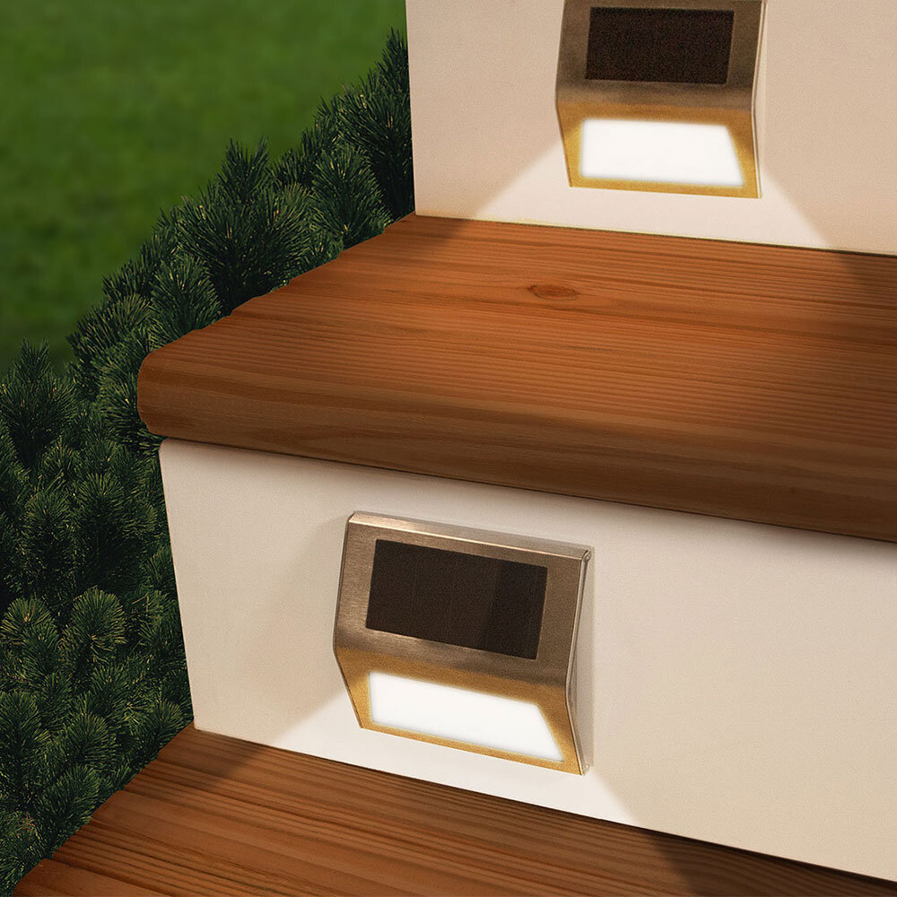 4 pack OF STAINLESS STEEL WHITE LED RECESSED SOLAR GARDEN DECKING DECK LIGHTS