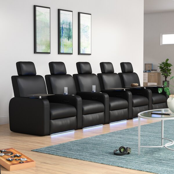Power Recline Leather Row Seating (Row Of 5) By Latitude Run