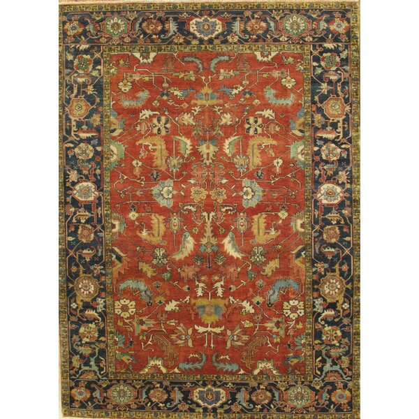 Serapi Heriz Hand-Knotted Blue/Red Area Rug by Pasargad
