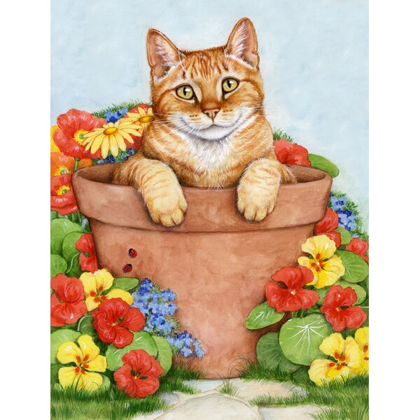 Ginger Cat In Pot by Debbie Cook 2-Sided Garden Flag by Caroline's Treasures