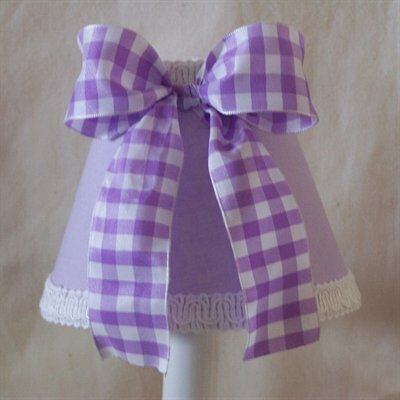 Pixie 4 H Fabric Empire Candelabra shade ( Clip on ) in Purple/White
