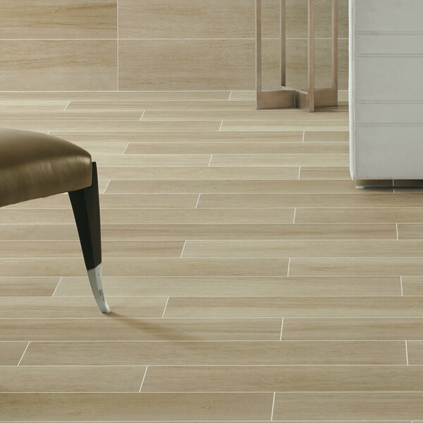Harmony Grove 6 x 36 Porcelain Wood Look Tile in Olive Champagne by PIXL